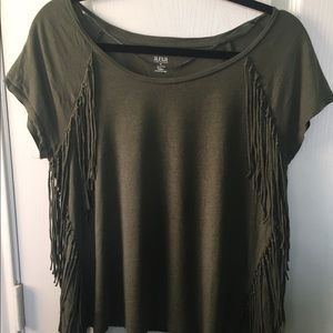A.N.A. Army green top with fringe detail.